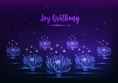 Loy Krathong tai festival web banner template with floating glowing low polygonal lotus water lily flowers and starry sky on dark blue purple background. Modern wire frame design vector illustration.