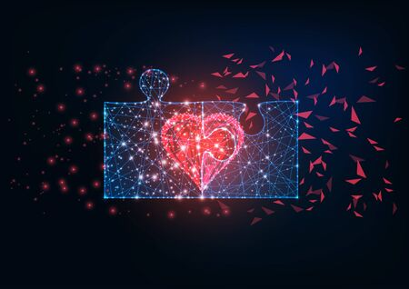 Futuristic glowing low polygonal two jigsaw puzzle pieces and red heart as a symbol of love relationship on dark blue background. Modern wire frame mesh design vector illustration.