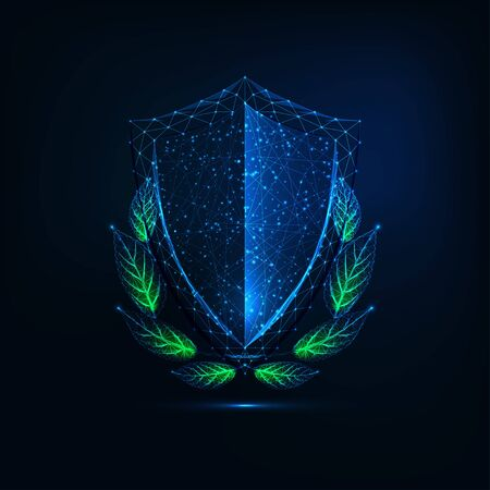 Futuristic glowing low polygonal crest shield with green Laurel wreath isolated on dark blue background. Modern wire frame mesh design vector illustration.