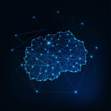 North Macedonia map glowing silhouette outline made of stars lines dots triangles, low polygonal shapes. Communication, internet technologies concept. Wire frame futuristic design. Vector illustration