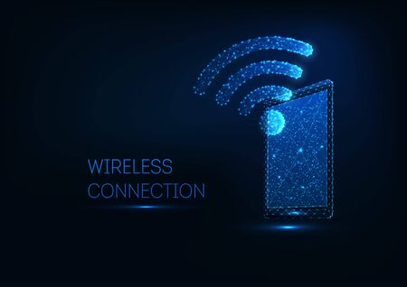 Futuristic glowing low polygonal tablet with WiFi symbol on dark blue background. Wireless connection on electronic devices concept. Modern wire frame mesh design vector illustration.
