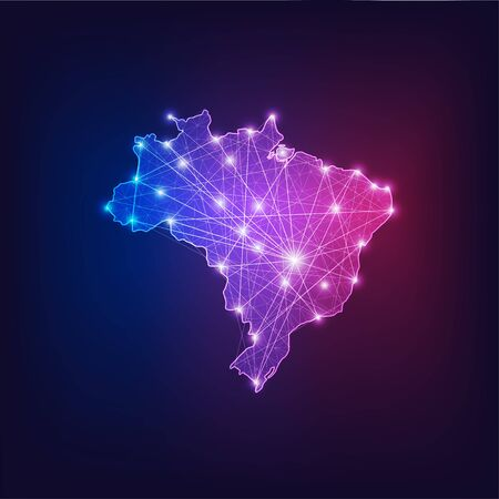 Brazil map outline with stars and lines abstract framework. Communication, connection concept.Modern futuristic low polygonal, wireframe, lines dots design. Vector illustration. Illusztráció