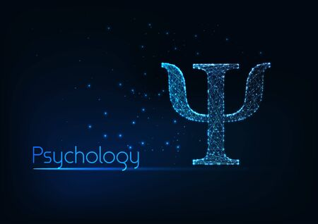 Futuristic glowing low polygonal psi Greek letter, symbol of psychology science and therapy isolated on dark blue background. Modern wire frame mesh design vector illustration.