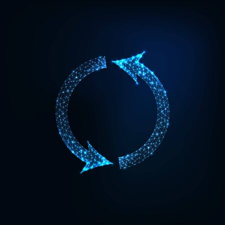 Futuristic glowing low polygonal round recycling symbol made of lins, stars, light particles, dots isolated on dark blue background. Compostable, biodegradable concept. Modern vector illustration.