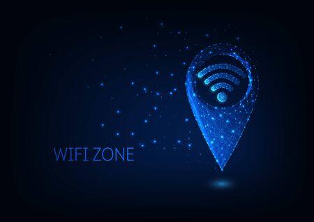 Futuristic glowing low polygonal gps and wifi symbols isolated on dark blue background. Wifi zone location concept. Modern wire frame mesh design vector illustration. Illusztráció