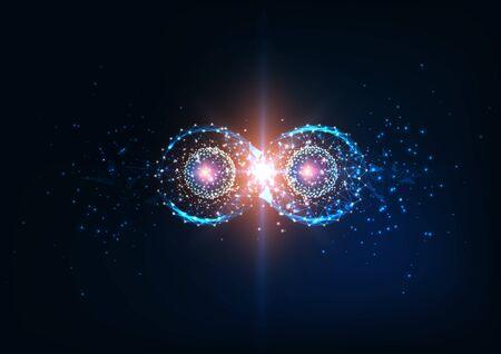 Boucle d'infinité polygonale faible et futuriste avec des modèles de cohérence atomique. Intrication quantique, futur concept de science physique. Illustration vectorielle de conception de maille de fil de fer moderne.