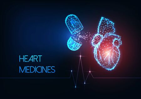 Futuristic glowing low polygonal human heart and capsule pills medications on dark blue background. Heart attack medicines concept. Modern wire frame design vector illustration.