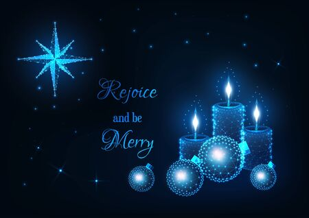 Merry Christmas greeting card with glowing low polygonal candles, decorative baubles, Bethlehem star and text rejoice and be merry on dark blue background. Modern wire frame design vector illustration