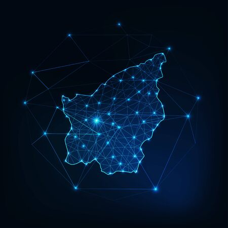 San Marino map outline with stars and lines abstract framework. Communication, connection concept. Modern futuristic low polygonal, wireframe, lines and dots design. Vector illustration.