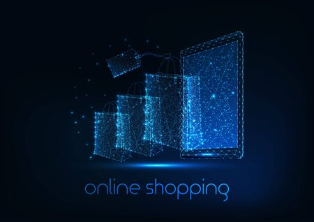 Futuristic online shopping concept with glowing low polygonal tablet, paper bags and price tag on dark blue background. Modern wire frame mesh design vector illustration. Illusztráció