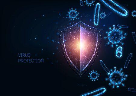 Protezione futuristica del sistema immunitario dal concetto di malattie infettive con scudo poligonale basso incandescente, cellule virali e batteriche su sfondo blu scuro. Microbiologia, immunologia. Illustrazione vettoriale.