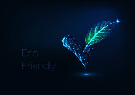 Futuristic glowing low polygonal check mark with green leaf isolated on dark blue background. Eco friendly, plant based, organic concept. Modern wire frame mesh design vector illustration.