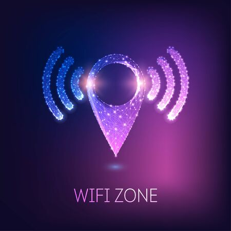 Futuristic glowing low polygonal GPS navigation symbol with wifi signals isolated on dark blue to purple background. Wifi zone location concept. Modern wire frame mesh design vector illustration.
