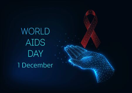 World AIDS day banner template with red glowing low polygonal ribbon bow and holding hand