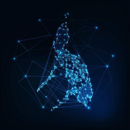 Filipinas mapa contorno de silueta brillante hecho de estrellas líneas puntos triángulos, formas poligonales bajas. Comunicación, concepto de tecnologías de internet. Diseño futurista de estructura metálica. Ilustración vectorial. Ilustración de vector
