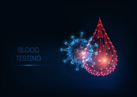 Futuristic glowing low polygonal blood testing concept with blood drop and virus cell on dark blue background. Microbiology, immunology. Modern wire frame mesh design vector illustration.  イラスト・ベクター素材