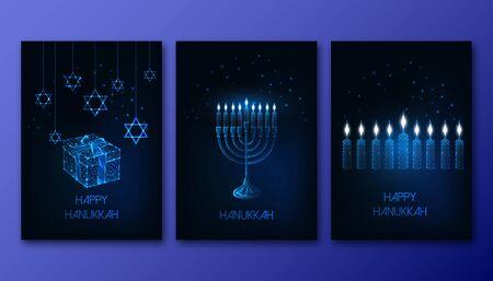 Futuristic glowing low polygonal Hanukkah posters set with menorah, candles, gift box and David star Çizim