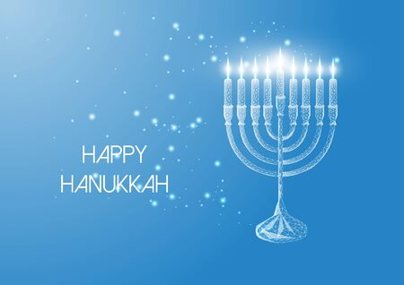 Happy Hanukkah greeting card with glowing low poly menorah and burning candles on blue background. Çizim