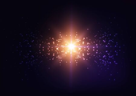 Bright starburst light, star explosion, Galaxy lights on starry sky night dark purple background. Çizim