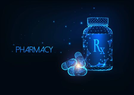 Futuristic Pharmacy concept with glowing low polygonal medicament container and capsule pills.