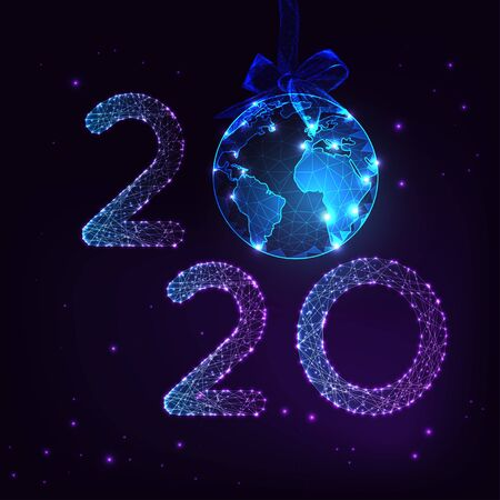 Happy New Year digital greeting card with futuristic glow low poly 2020 number and Earth globe