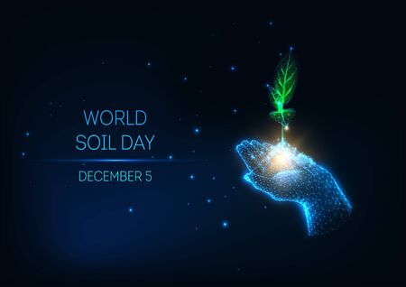Futuristic World Soil Day concept with glow low poly hand hold green sprout on dark blue background.