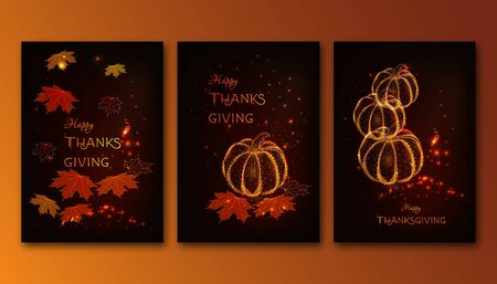 Futuristic Happy Thanksgiving posters set with glowing pumpkins, maple leaves on brown background.