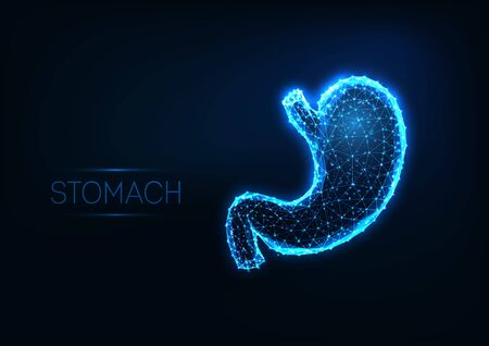 Futuristic glowing low polygonal human stomach isolated on dark blue background. Illustration