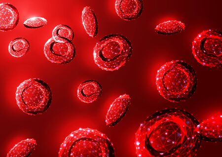 Futuristic glowing low polygonal red blood cells erythrocytes bloodstream on dark red background. 일러스트