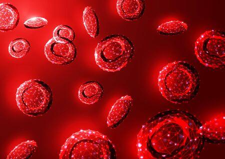 Futuristic glowing low polygonal red blood cells erythrocytes bloodstream on dark red background. Illustration