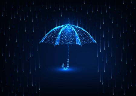 Futuristic protection concept with glow low poly umbrella and rain shower on dark blue background. Çizim