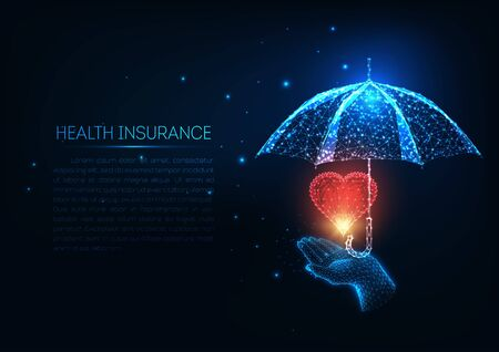 Futuristic health insurance concept with glowing low polygonal human hand,red heart and umbrella.