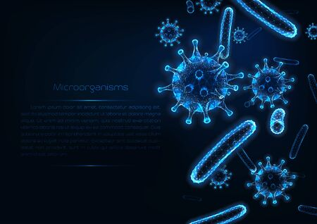 Futuristic immunology web banner with glowing low polygonal virus and bacteria cells.