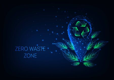 Futuristic zero waste zone concept with glow low poly location marker, recycle sign, green leaves.