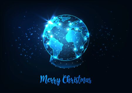 Futuristic Merry Christmas greeting card with low polygonal snow globe with planet earth world map. Illusztráció
