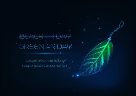 Futuristic green Friday concept with glowing low poly leaf tag and text on dark blue background. Illusztráció