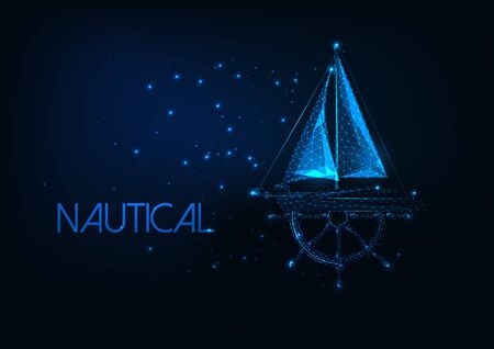 Futuristic nautical concept with glowing low poly yacht boat and ship wheel on dark blue background. Illustration