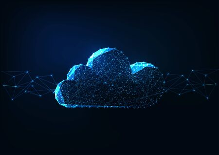 Futuristic glowing low polygonal cloud computing technologies concept on dark blue background.