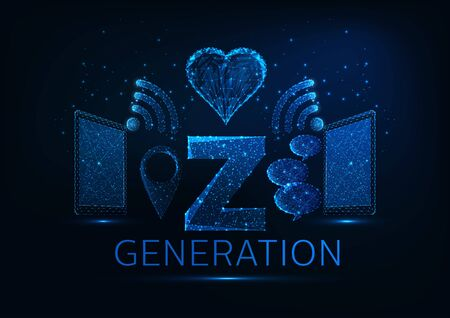Futuristic generation Z concept with tablets, Wi-Fi, gps pin symbols, speech bubbles, heart shape