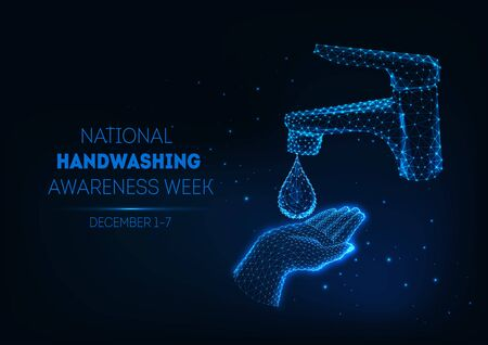 Futuristic handwashing banner with glowing low polygonal human hand, water drop and bathroom faucet. Illusztráció