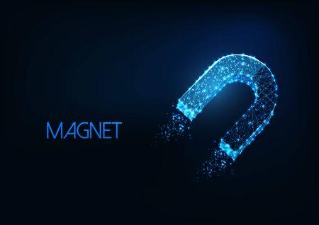 Futuristic glowing low polygonal horseshoe magnet symbol isolated on dark blue background. Çizim