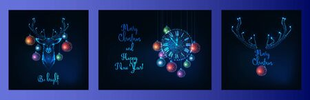 Merry Christmas greeting card with glowing low polygonal deer head, decorative balls, wall clock