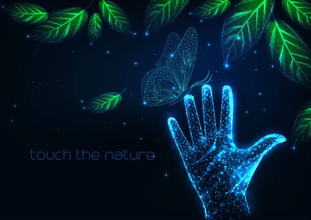 Futuristic people nature connection concept with night landscape with leaves, butterfly, human hand