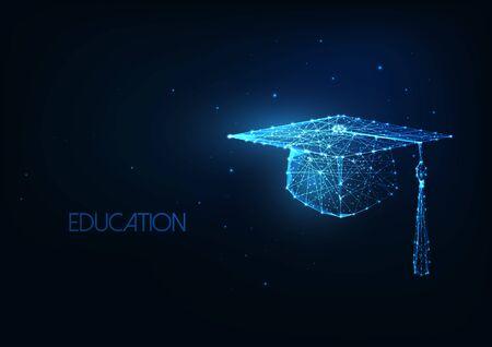 Futuristic education concept with glowing low polygonal graduation hat on dark blue background. Çizim