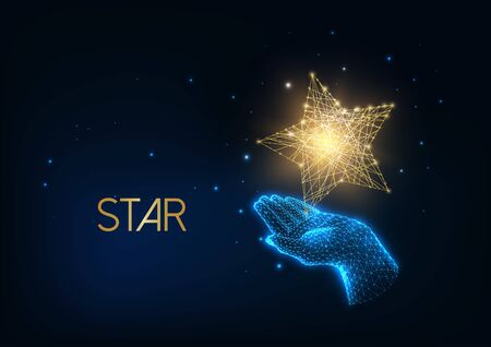 Futuristic people award, excellence concept with glow low polygonal human hand holding golden star. Illusztráció