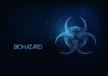Futuristic glowing low polygonal biohazard symbol isolated on dark blue background. Çizim