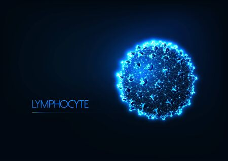 Futuristic immunology concept with glow low poly human lymphocyte white blood cell or cancer cell