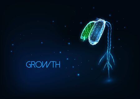 Futuristic agriculture growth concept with glowing low polygonal green bean sprout