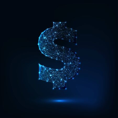Futuristic glowing low polygonal dollar sign isolated on dark blue background.