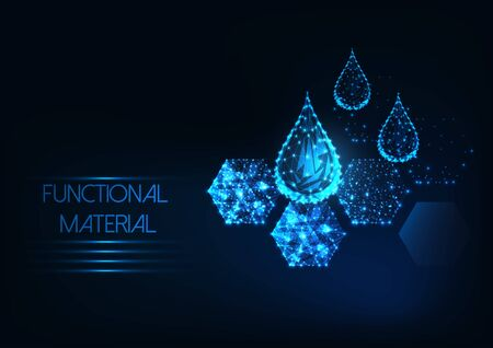 Futuristic functional material concept with glowing low polygonal water drops and hexagonal material